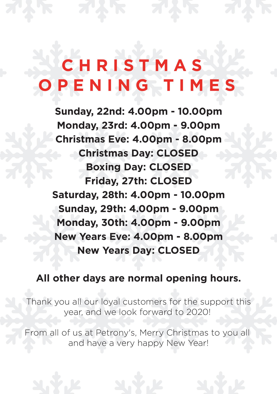 Christmas Opening Hours---Petronys